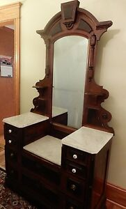 Antique Beautiful Victorian East Lake Walnut Marble Top Dresser With Mirror 81