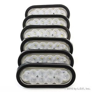 6 6 Oval Clear Led Reverse Back Up Light Surface Mount Trailer Truck