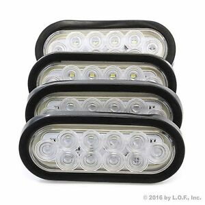 4 6 Oval Clear White Led Reverse Back Up Light Surface Mount Trailer Truck