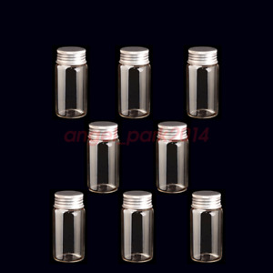 New 100 Pcs 22x50mm Small Clear Message Bottles Glass Vials 10ml With Screw Caps