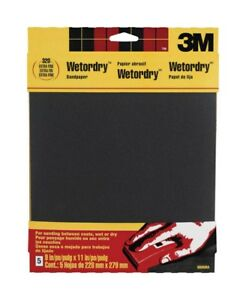 3m Waterproof Silicon Carbide Sandpaper 220 Grit Extra Fine 9 X 11 pk 10