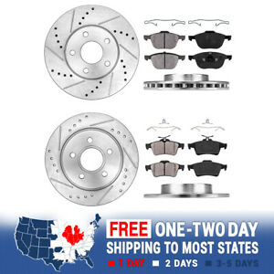 Front Rear Drill Slot Brake Rotors And Ceramic Pads For 2012 2013 2014 Focus