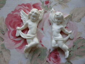 Cherubs Pair L R Facing Furniture Applique Architectural Plaque