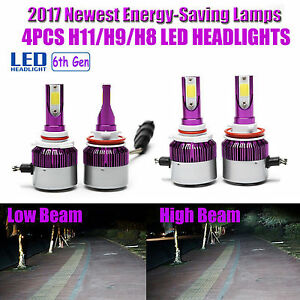 4pcs Combo Kit H11 H11 Total 880w Led Car Headlight Bulbs Hi lo Beam 6000k Kit