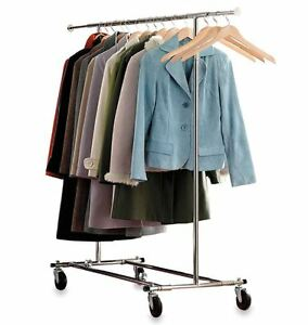 Commercial Grade Portable Folding Adjustable Mobile Garment Clothing Hang Rack