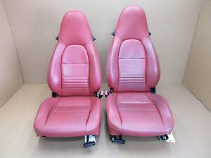 97 Boxster Rwd Porsche 986 L R Front Red Leather 2 Way Seats Left Right 42 614