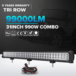 3 Row 31inch 990w Led Light Bar Spot Flood Offroad Driving Jeep Truck Pk 32 36