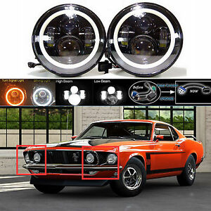 7 Led Headlight Drl Hi Low Beam Lamp With Halo Rings For Ford Mustang 1965 1978