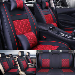 Us 5 seat Car Pu Leather comfort Mesh Seat Covers Front rear Black red W pillows
