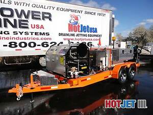 Sewer Jetter Trailer Dual Engine Hot And Cold Water Drain Line Jetting Equipment