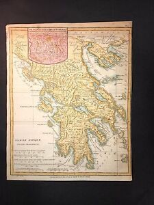 Ancient Greece Graeciae Antique 1797 Hand Color Map Macedonia Athens Messenia