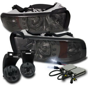 1994 2001 Dodge Ram Smoke Led Halo Projector Headlight Driving Fog Lamp W 8k Hid