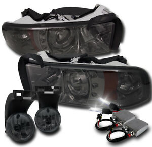 1994 2001 Dodge Ram Smoke Led Halo Projector Headlight Lower Fog Lamp 50w 6k Hid