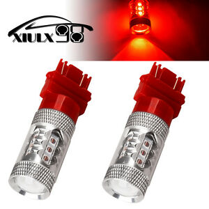 2x Pure Red 3157 3156 High Power 80w Led Tail Brake Stop Turn Signal Light Bulbs
