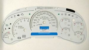 03 04 05 Silverado Sierra Tahoe White Gauge Face Overlay Led Version Trans Temp