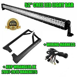 52in Led Light Bar Roof Mounting Brackets For Jeep Jk Wrangler 07 15 Wiring