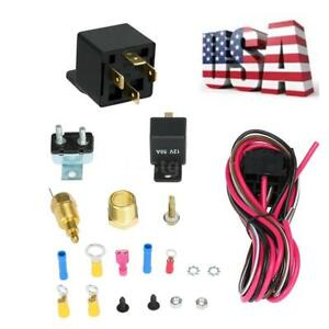 Auto Electric Cooling Fan Wiring Install Kit 170 185 Degree Thermostat Us Stock