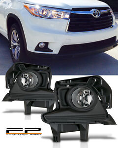 2014 2015 2016 Toyota Highlander Clear Fog Light Front Lamps Full Kit W Harness