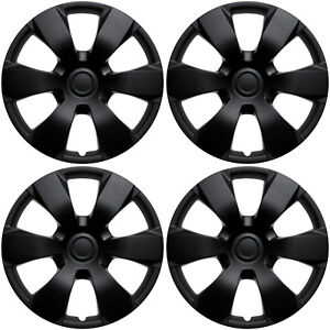 4 Pc Set Hub Cap Abs Black Matte 16 Inch For Oem Steel Wheel Cover Caps Covers