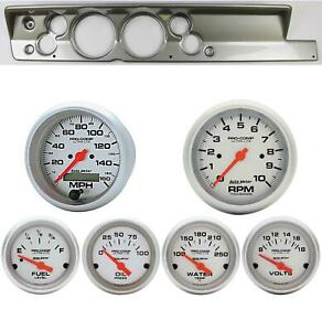 67 69 Barracuda Silver Dash Carrier W Auto Meter 5 Ultra Lite Electric Gauges