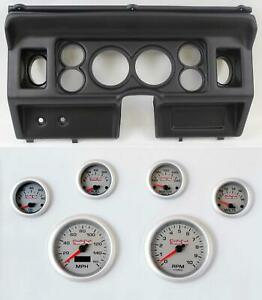 80 86 Ford Truck Black Dash Carrier W 3 3 8 Concourse Series Silver Gauges