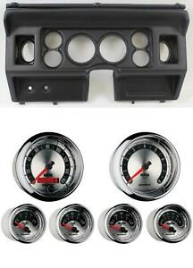 80 86 Ford Truck Black Dash Carrier W Auto Meter 3 3 8 American Muscle Gauges