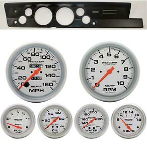 67 69 Barracuda Black Dash Carrier W Auto Meter 5 Ultra Lite Mechanical Gauges