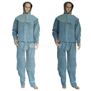 Blue Flame resistant Heavy Duty Leather Welding Suits Hooded Welders Coveralls