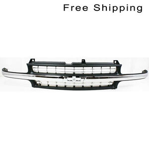 Front Painted black W Chrome Center Bar Grille Fits Silverado Tahoe Gm1200424