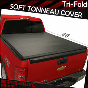 Lock Tri fold Soft Tonneau Cover For 2007 2013 Chevy Silverado 8 Ft 96 Long Bed