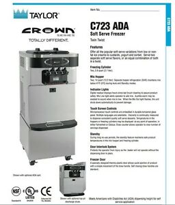 Taylor C723 Ada Frozen Yogurt With Agitators 2014 3 Phase Water Cooled