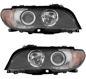 Halogen Headlights Assembly W clear Signal Pair Set For 3 03 06 Bmw 325ci 330ci
