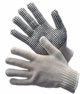 25 Dozen 300 Pair Standard String Knit Pvc Dot One Side Work Gloves Man large