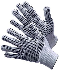 25 Dozen 300 Pair Standard String Knit Pvc Dot Both Sides Work Gloves Man large