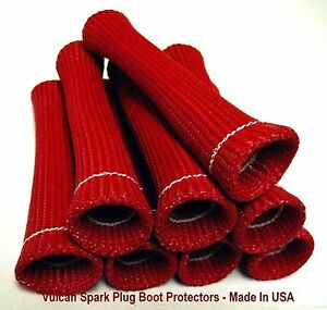 Red Vulcan Heat Protector Sleeve Spark Plug Wire Boots 8 Cyl Made In Usa