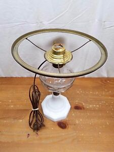 Antique Electric 19th Century Pressed Clear Font Oil Lamp Milk Glass Base 12 5