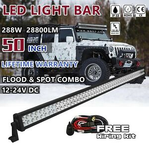 50 Inch Led Work Light Bar 4wd Ute Suv Atv Boat Fog Off Road Jeep Truck 52 48