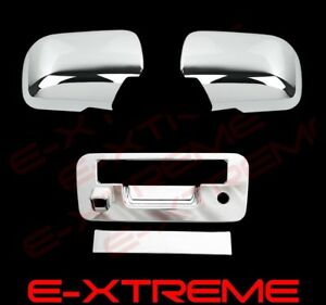 For 2013 2015 Nissan Titan Full Chrome Mirror Cover tailgate W camera