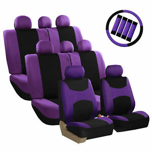 Car Seat Covers Purple Set For Auto W Steering Wheel Belt Pad Head Rests