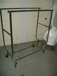Chrome Collapsible U Shaped Double Bar Garment Rack W Wheels