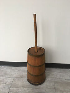 Antique Primitive Wood Banded Butter Churn
