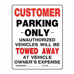 Hillman 842192 Red Black Customer Only Parking Sign 15 X 19