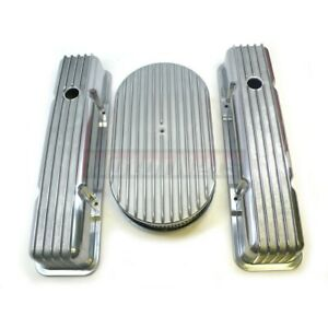 Sbc Small Block Chevy Finned Aluminum Tall Valve Cover 15 Air Cleaner Nostalgic