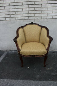 Elegant 19th C French Louis Xv Carved Walnut Bergere Chair New Upholstery