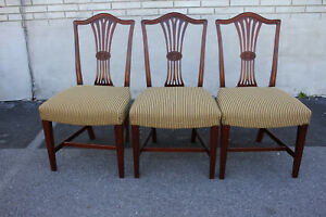 English Hepplewhite Solid Mahogany Spring Dining Chairs New Upholsetry