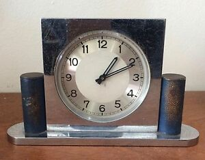 Streamline Art Deco Chromed Steel Desk Clock Machine Age C 1930