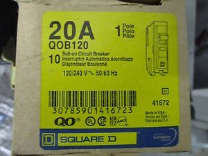 Square D Qob120 20 Amp 120 Volt 1 Pole Circuit Breaker Yellow new Box Of 10
