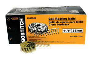 Stanley Bostitch Galvanized Coil Roofing Nails 1 1 2 Length 7200 Box