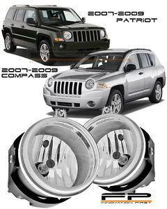2007 2009 Jeep Compass Patriot Clear Lens Replacement Fog Lights Housing Pair