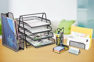 6 Piece Office Desk Set Metal Mesh Holder Desktop Storage Office School Supplies